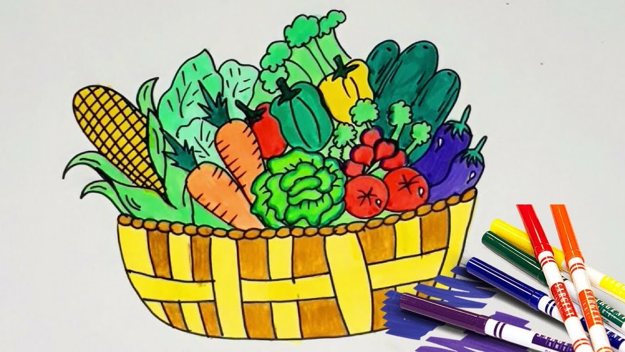 1280x720 How To Draw Vegetable Basket Step By Step Drawing And Coloring