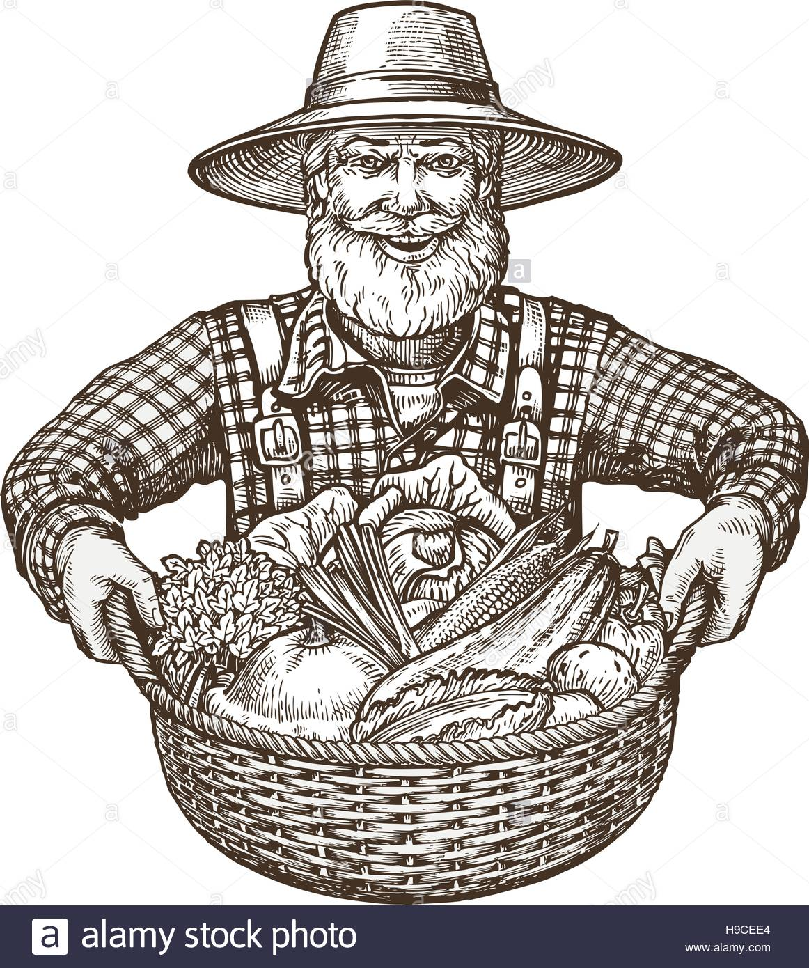 1162x1390 Vegetables. Farmer With Basket In Hands. Sketch Vector Stock