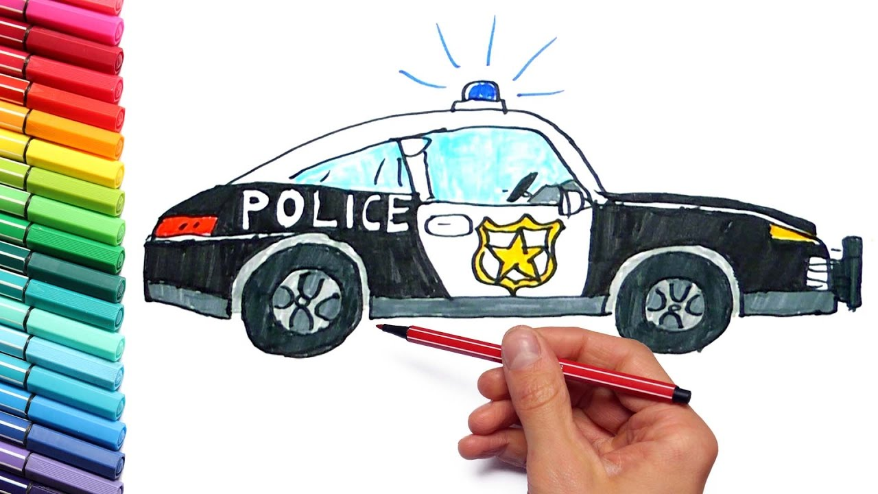 1280x720 How To Draw And Paint Police Car For Children