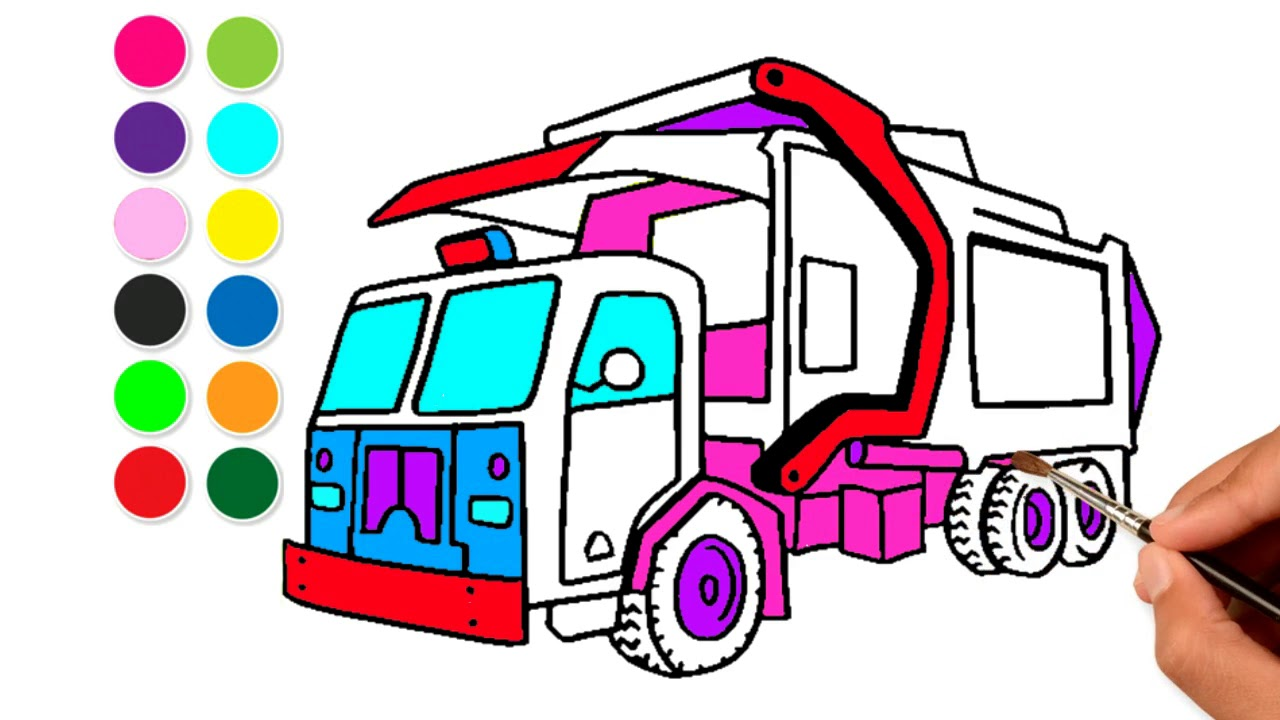 1280x720 How To Draw Garbage Truck Street Vehicles Drawing And Learn