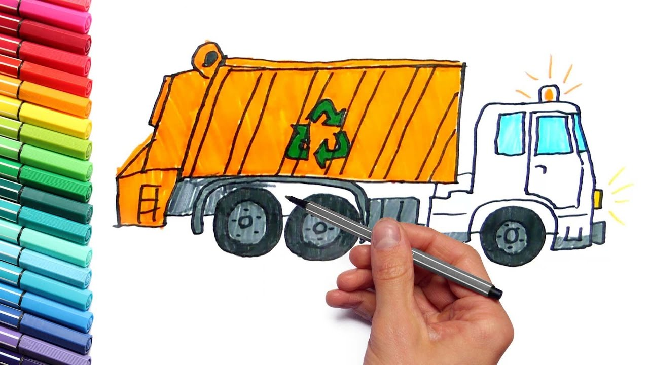 1280x720 How To Draw And Color A Garbage Truck