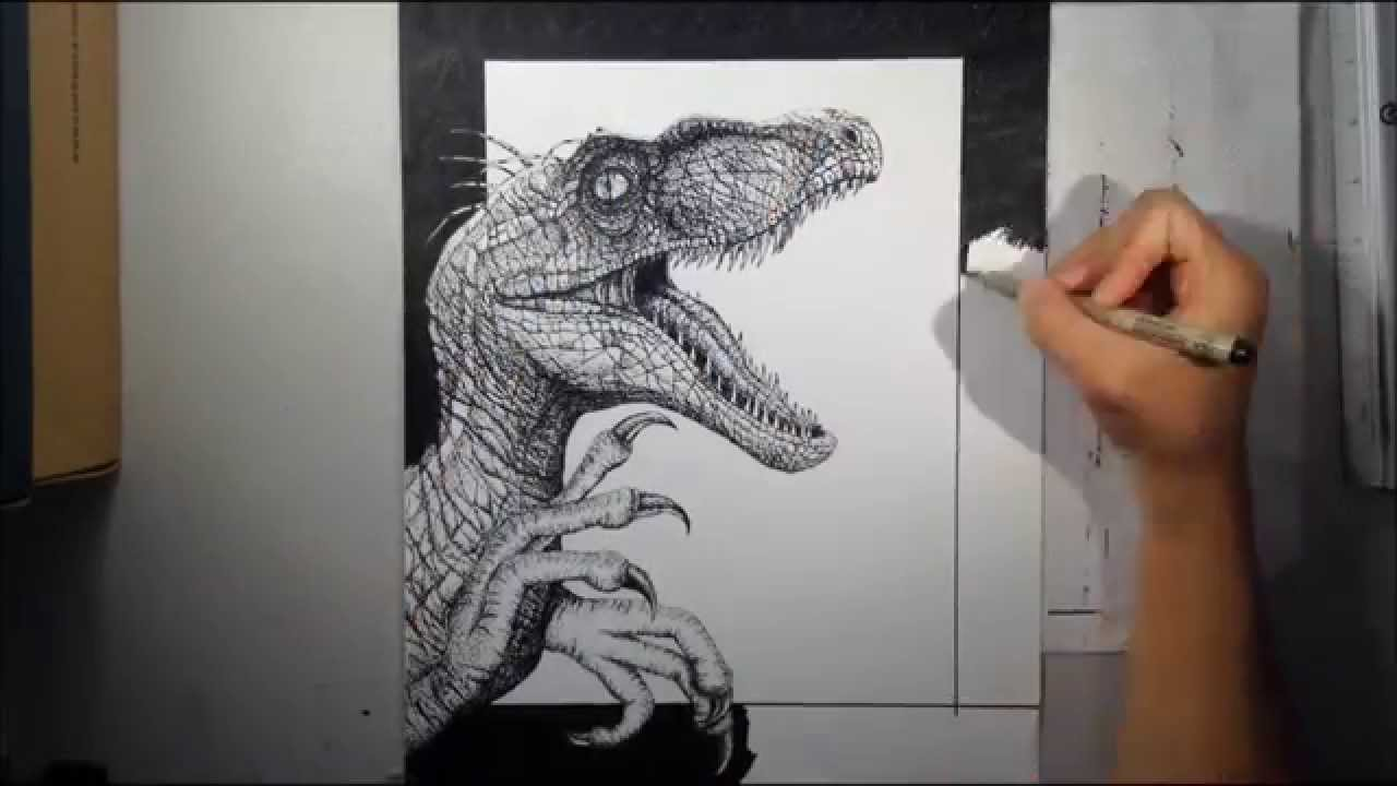 1280x720 Realistic Pointillism Drawing Of A Velociraptor