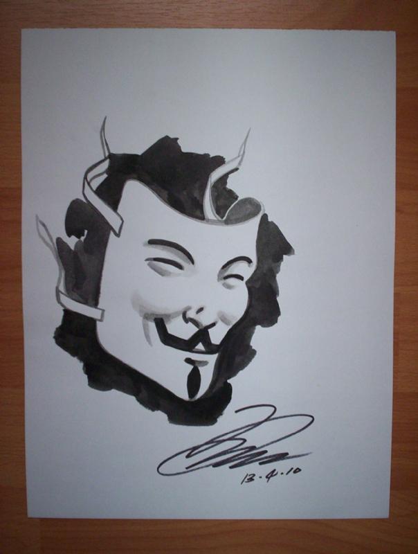 604x800 V For Vendetta,v Mask Ink Wash Drawing,david Lloyd, In Mario B.'S