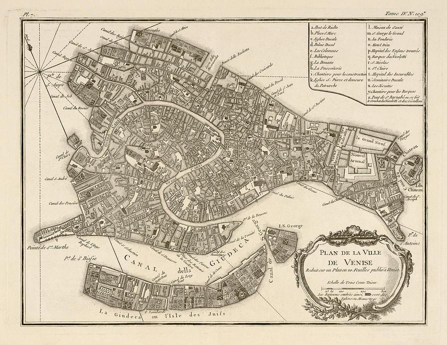 900x696 Antique Map Of Venice Italy By Jacques Nicolas Bellin