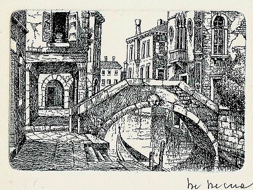500x376 Drawing Of A Bridge In Venice Found In A Box