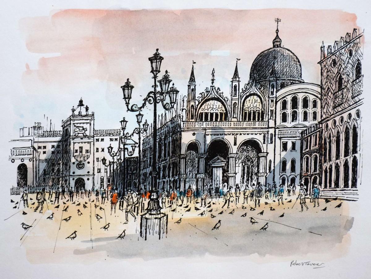 1200x902 St Mark's Square Venice, Robert Tavener Original Drawing.