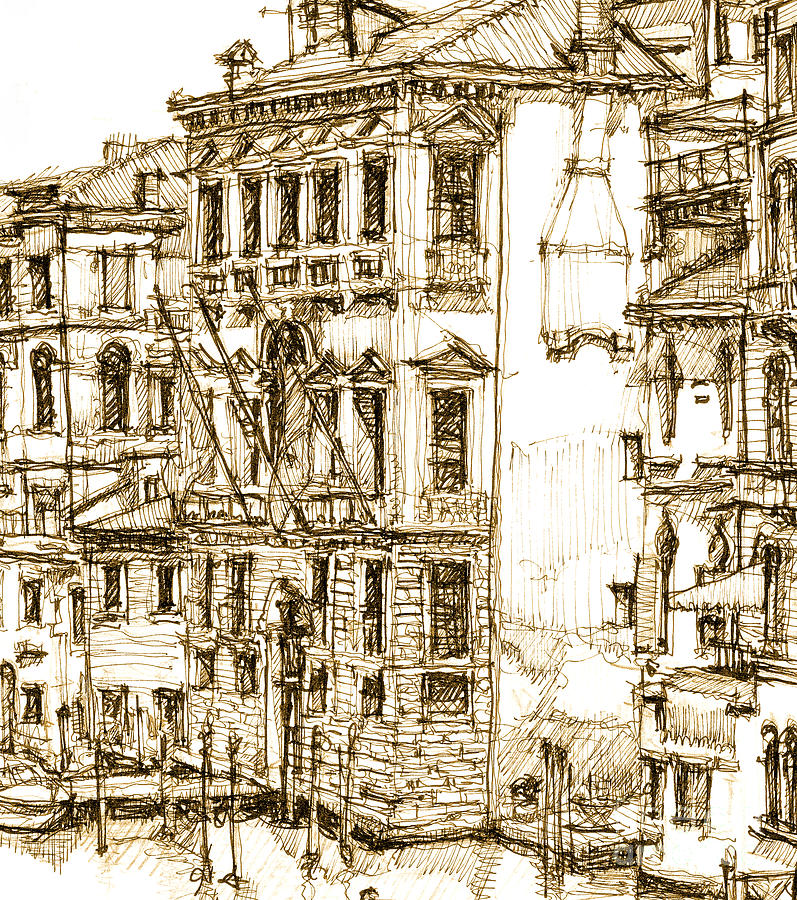 797x900 Venice Details In Sepia Drawing By Adendorff Design