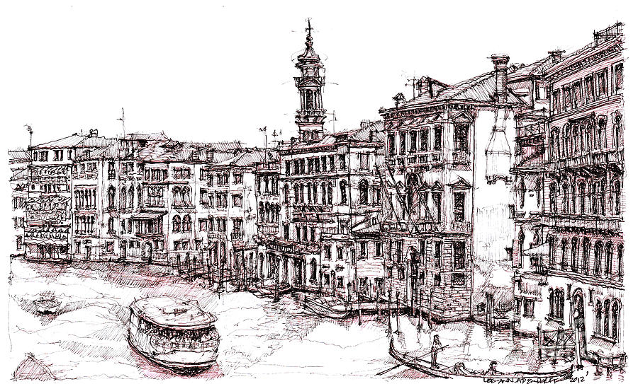 900x543 Venice In Pen And Ink Drawing By Adendorff Design