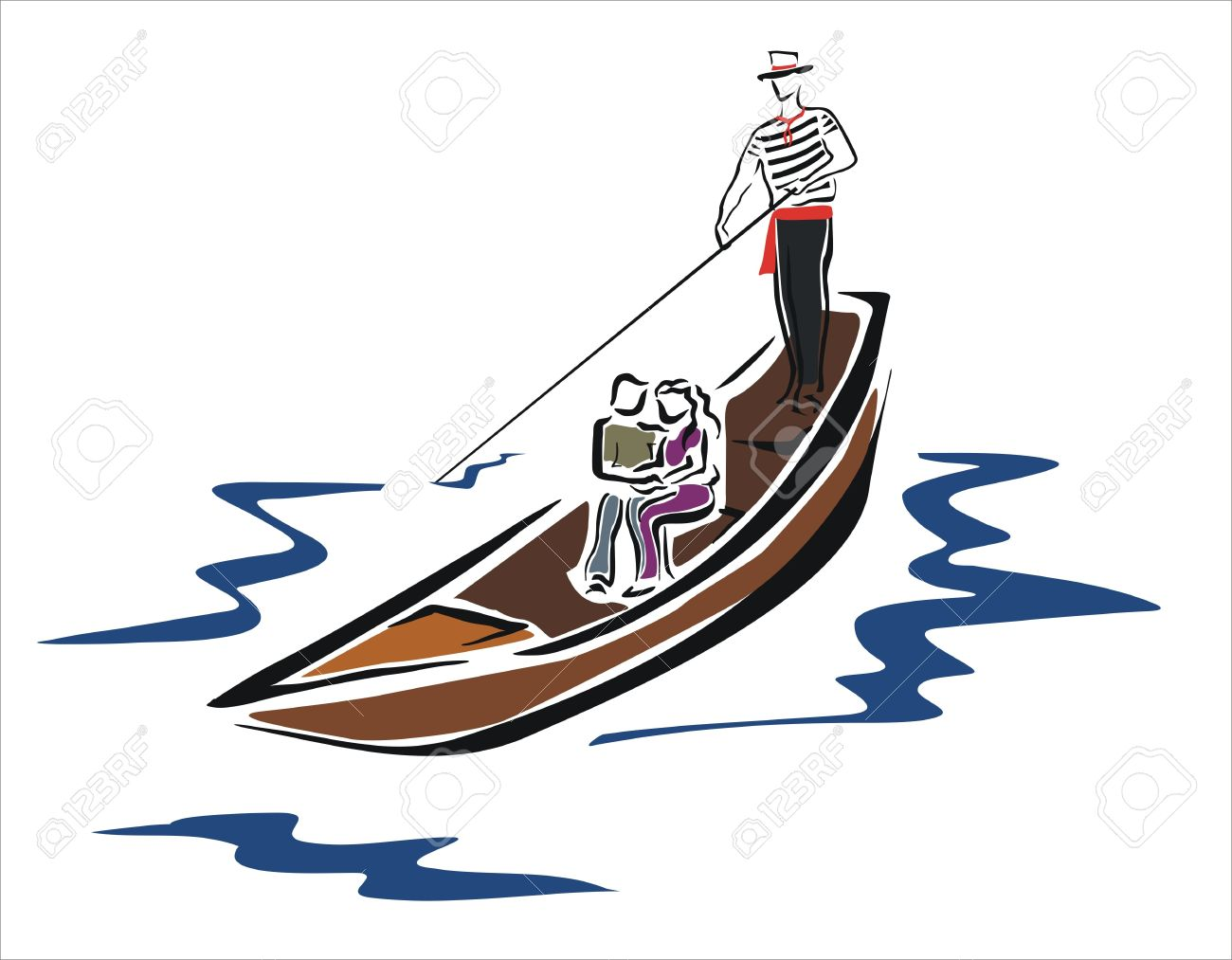 1300x1013 Drawing Of A Gondola In Venice With Couple Royalty Free Cliparts