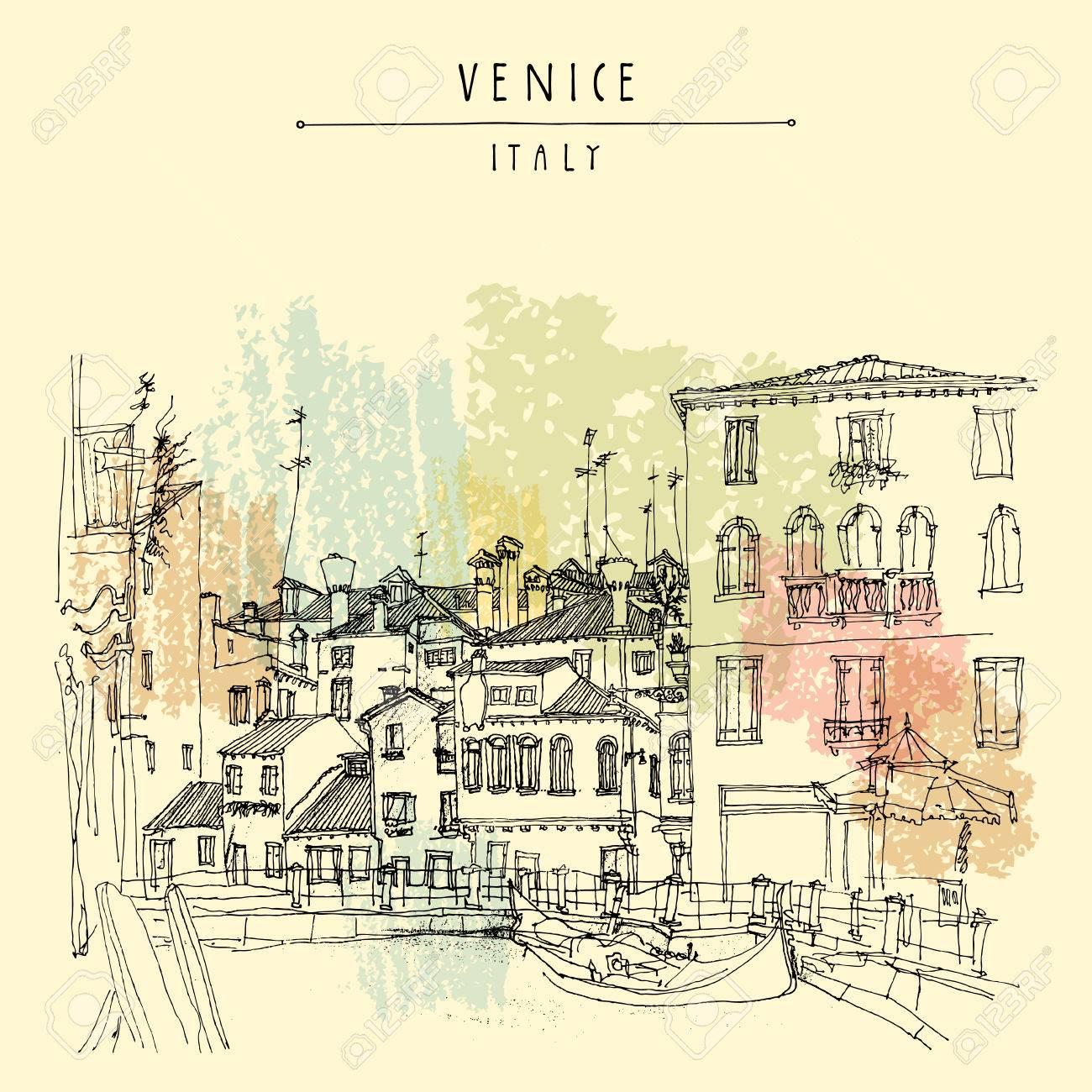 1300x1300 Gondola In Venice, Italy, Europe. Vector Hand Drawn Vintage