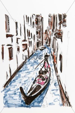 320x480 Gondola On A Small Canal, Venice, Italy, Drawing By Gerhard Kraus,