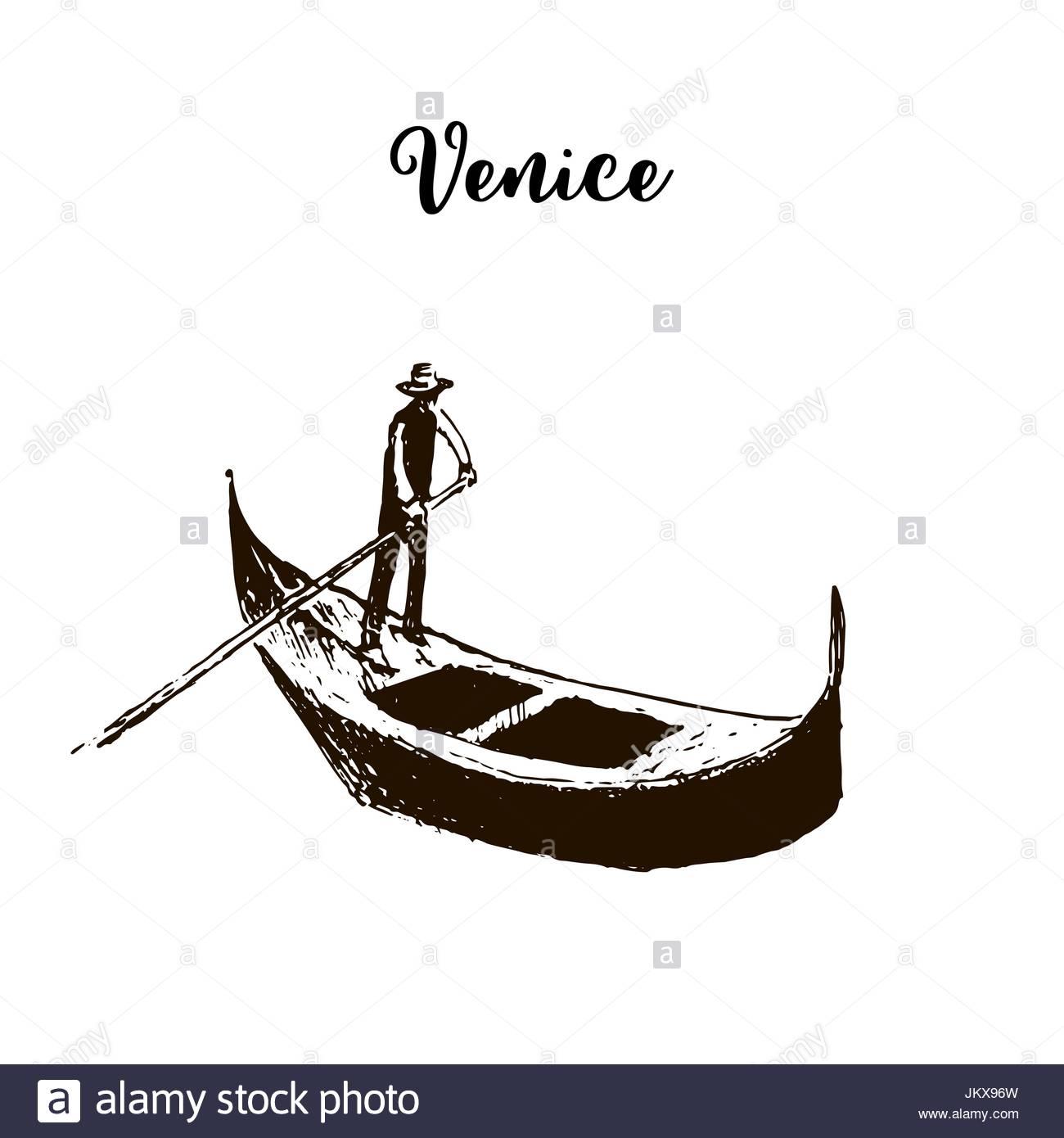 1300x1390 Gondola. Venice Symbol. Vector Sketch Stock Vector Art