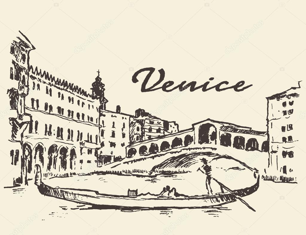 1024x786 Streets Venice Italy Gondola Illustration Drawn Stock Vector