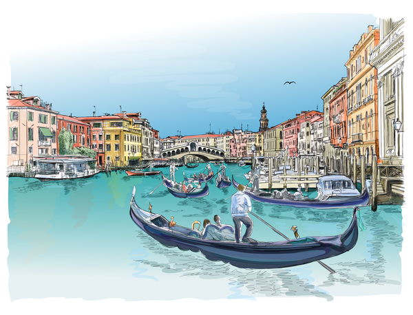 600x458 Venice Italy Landscape Hand Drawing Vector 05