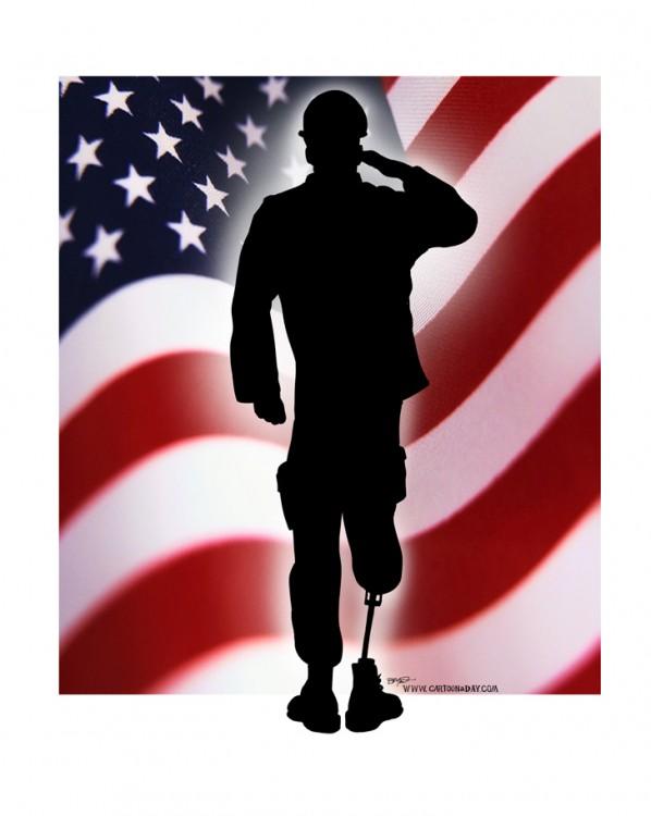 598x750 Veterans Day Soldier Saluting Flag Cartoon