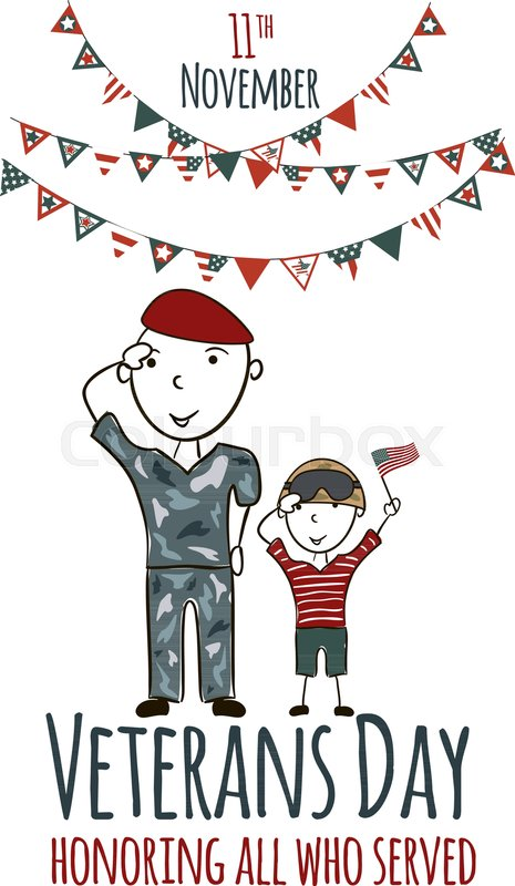 465x800 Veterans Day Greeting Card With Kids. National American Holiday