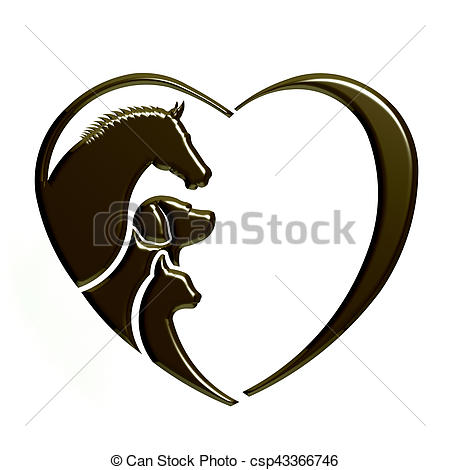 450x470 Drawing Of Veterinarian Heart Animal Love. Horse,dog And Cat
