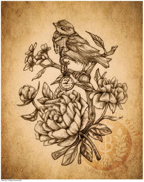 500x629 Victorian Steampunk Bird Pocket Watch Peonies
