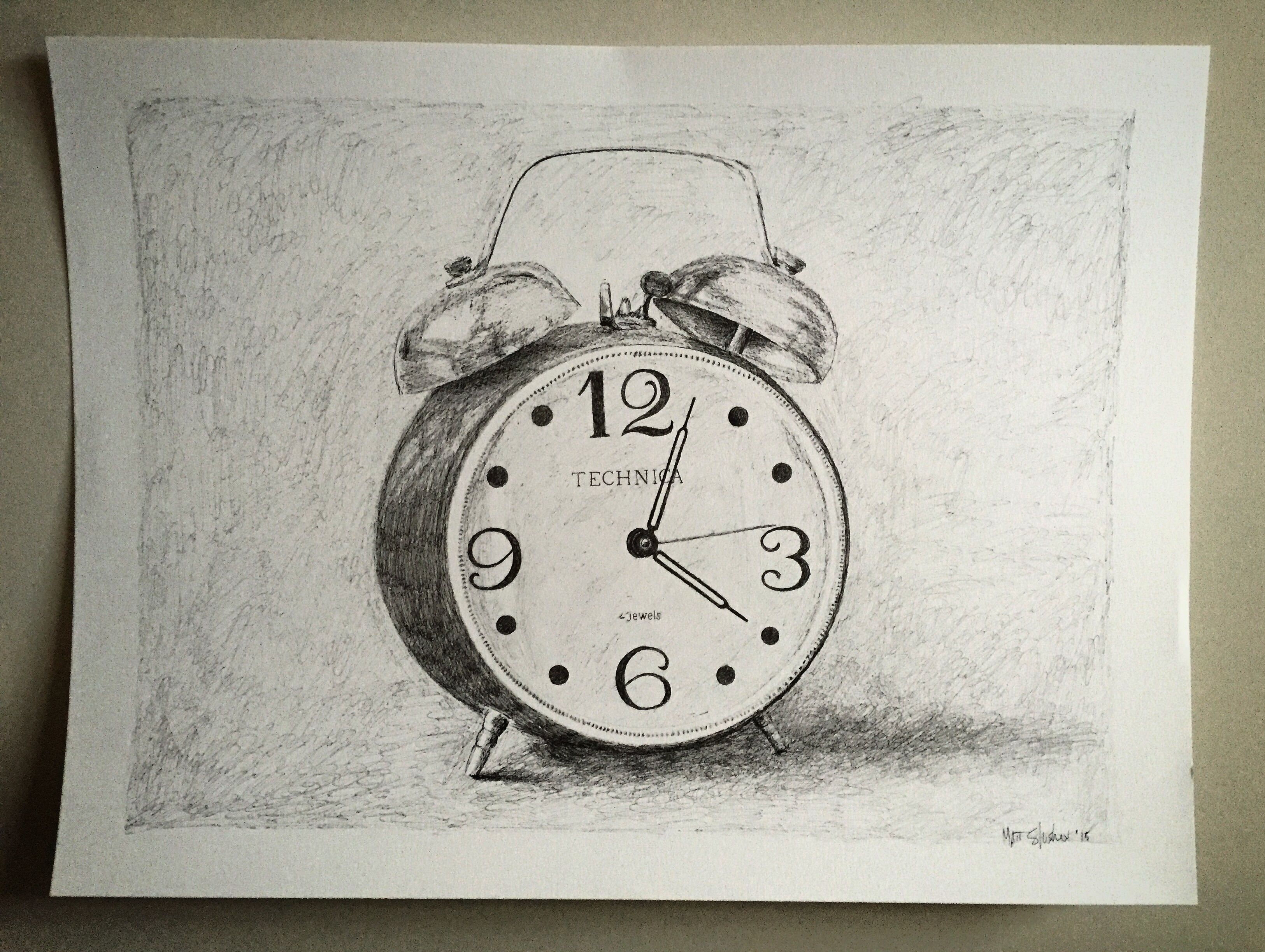 3251x2447 Antique Alarm Clock Drawing. Fine Art. Pen And Ink 18 X 24 Inches