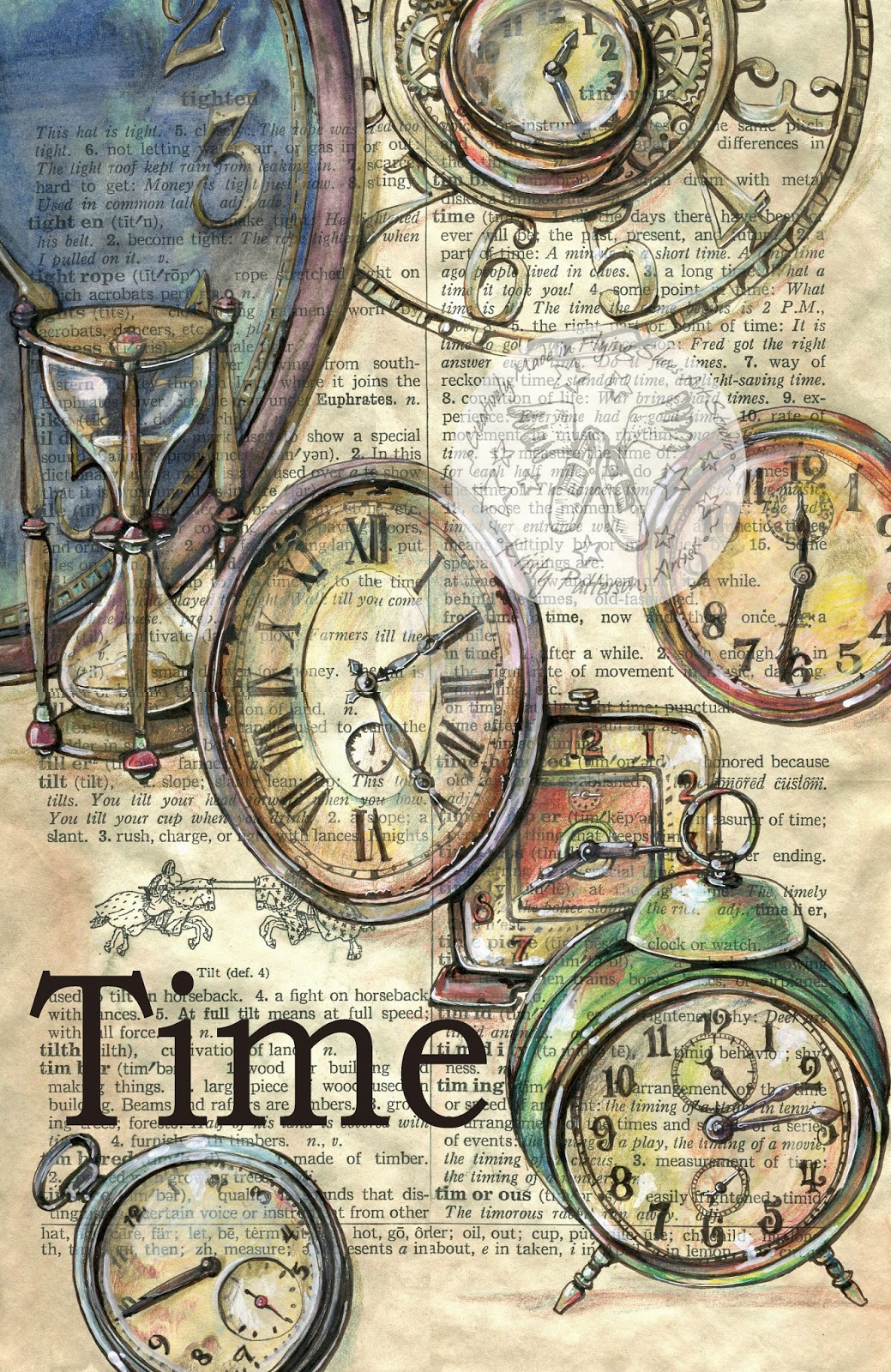 1039x1600 Old Clocks Drawn On Distressed, Dictionary Page