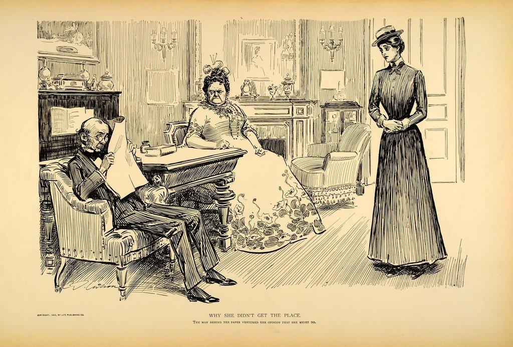 1024x692 1906 Print Charles Dana Gibson Girl Woman Hiring Maid Satire