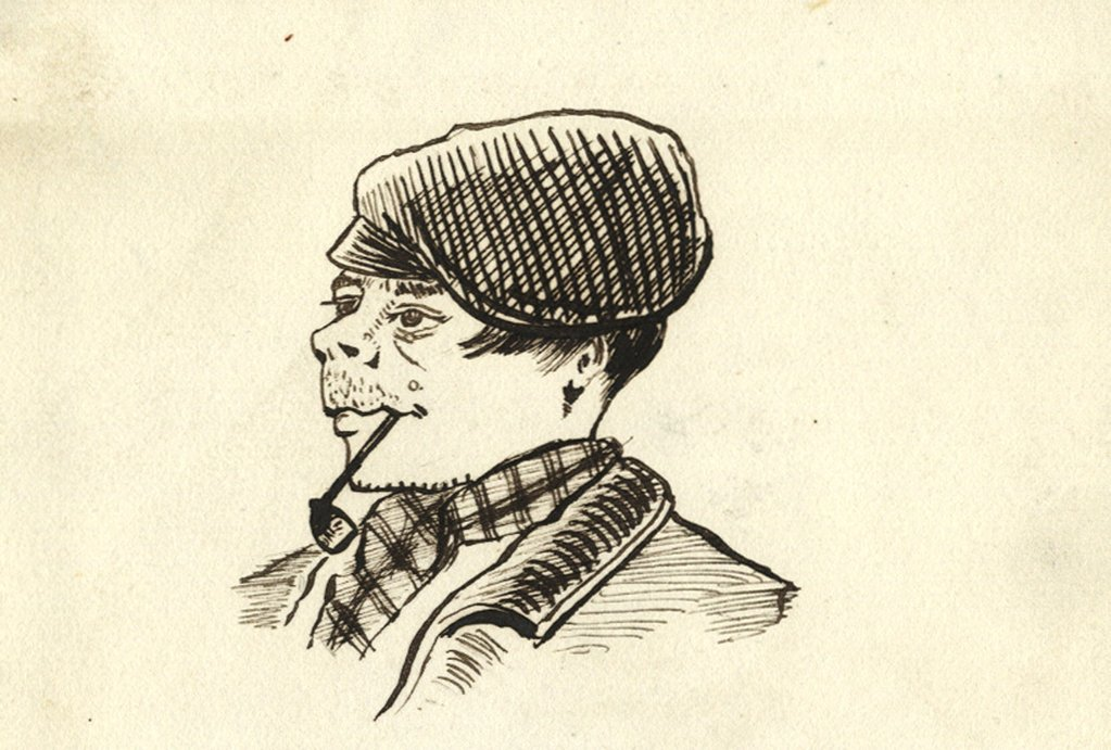 1023x691 Victorian 19th Century Pen Amp Ink Caricature Drawing, Man In Flat