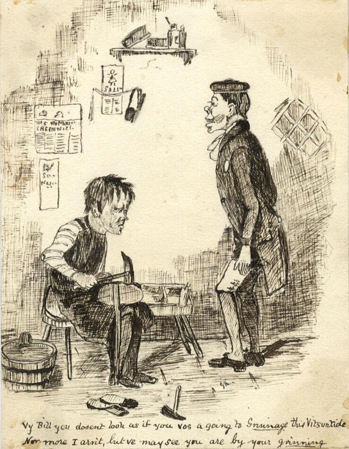 699x900 Victorian 19th Century Pen Amp Ink Cartoon Drawing, Gentleman