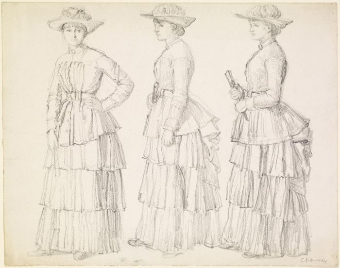 700x552 Pencil Drawing Study Of A Woman In Victorian Dress Costume