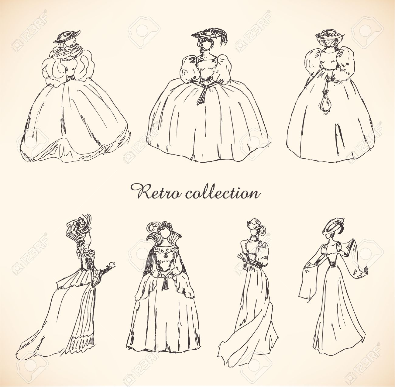 1300x1273 Set With Sketches Of Women In Retro Clothes. Ladies In Historical