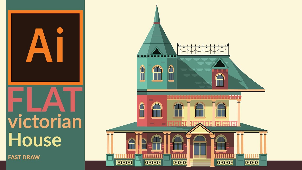 1280x720 Drawing A Victorian Era House In Illustrator