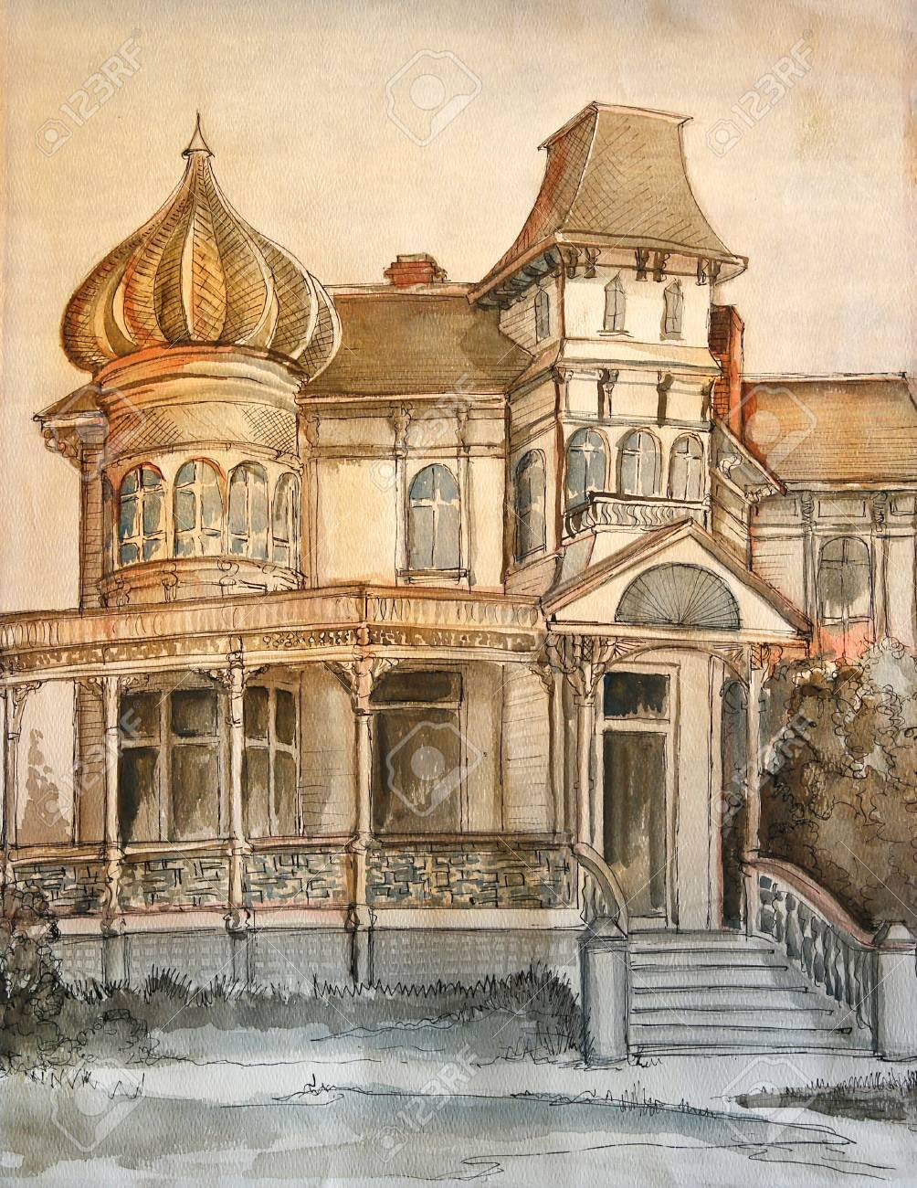 1004x1300 Hand Drawing Of Large Victorian Dream House In Orange And Brown