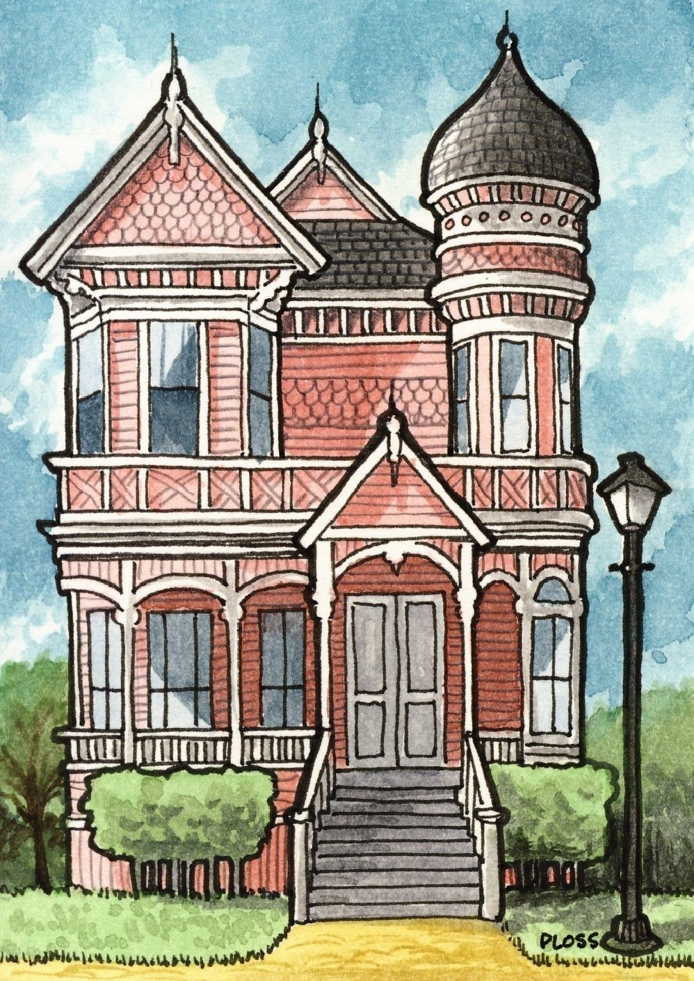 998x1411 Victorian House By Gene Ploss On Etsy. Paintingdrawing Ideas