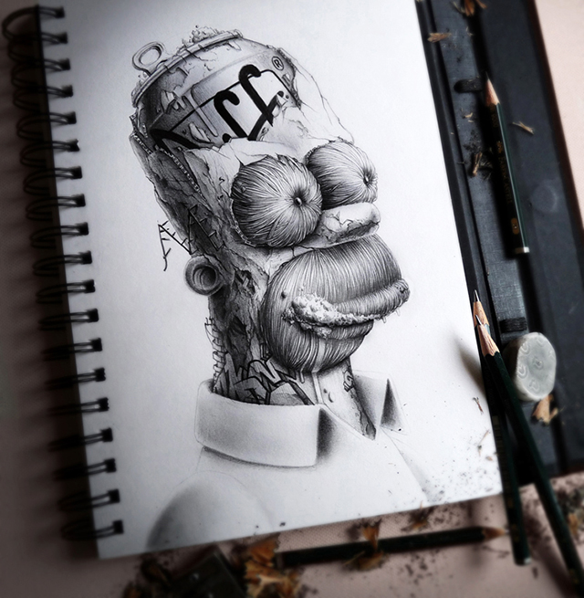 640x655 Distroy, Creepy Graphite Drawings Of Popular Cartoon Amp Video Game