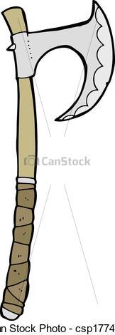 162x470 Cartoon Viking Axe Vector Illustration