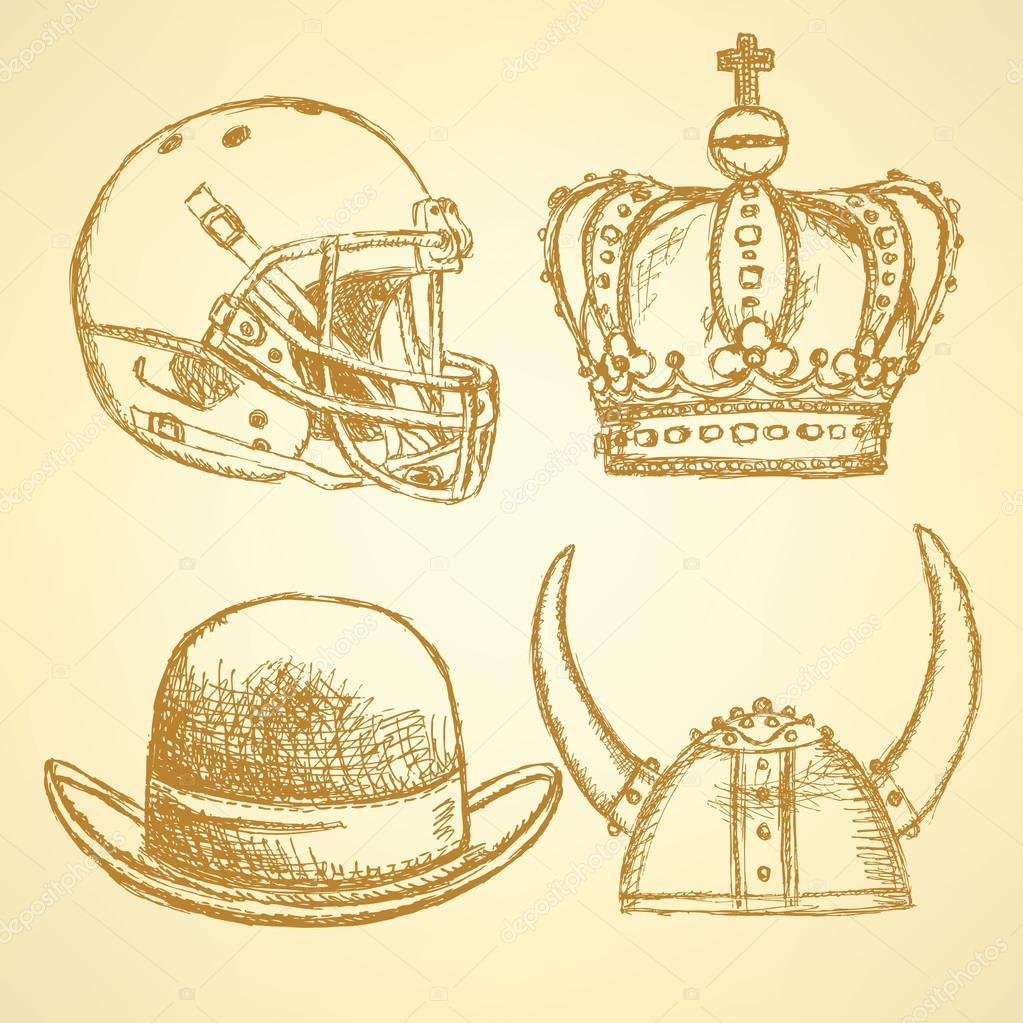 1023x1023 Sketch Viking Helmet, Crown, Football Helmet And Hat Stock