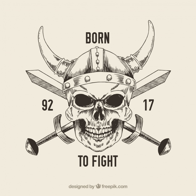 626x626 Skull With Viking Helmet And Sword Vector Free Download