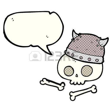450x450 Freehand Drawn Speech Bubble Cartoon Viking Helmet On Skull