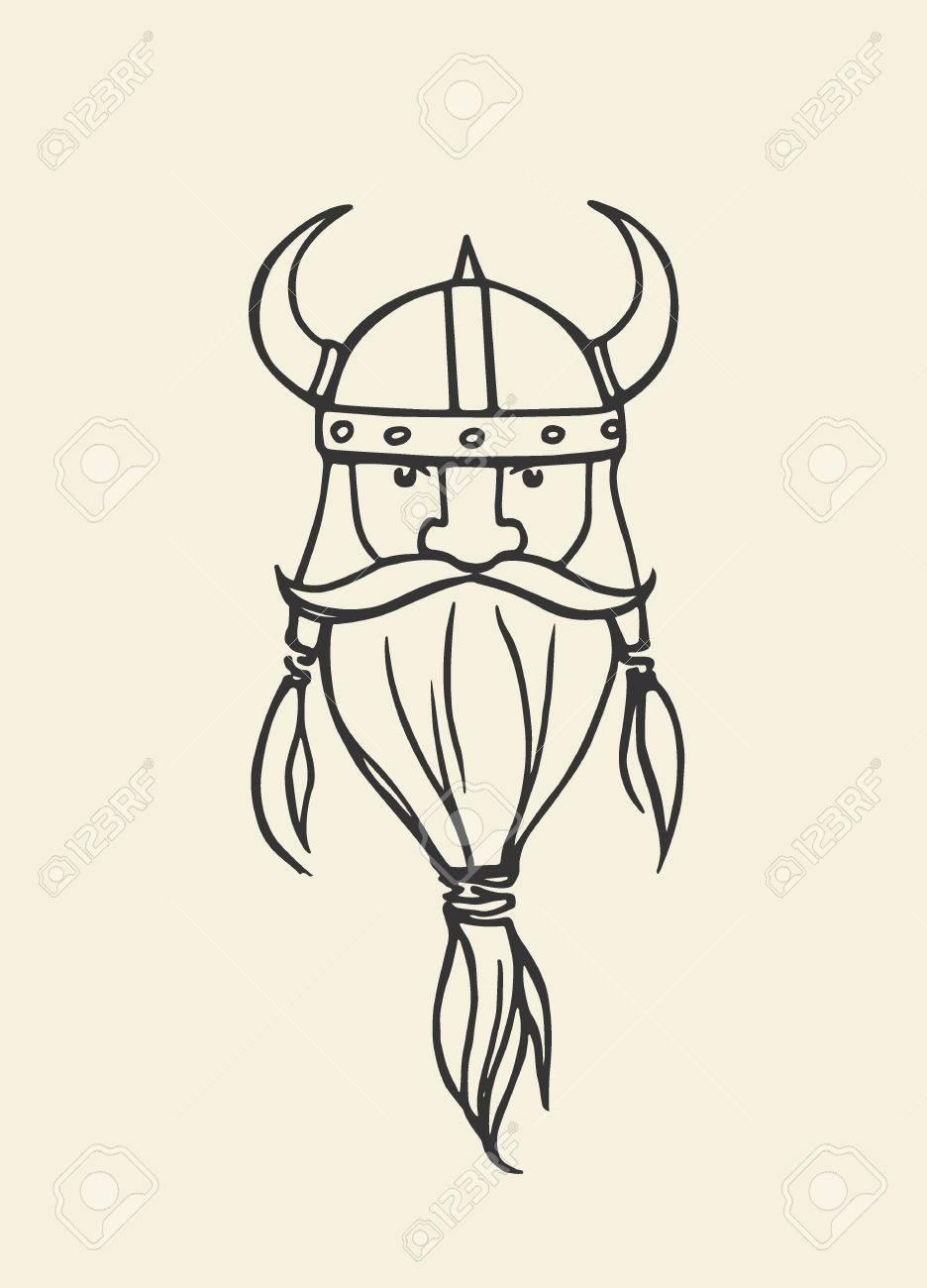 936x1300 Hand Drawn Head Of Bearded Viking With Helmet On. Vector