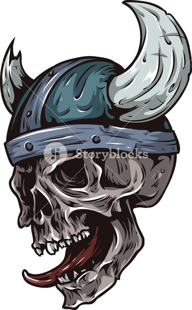 619x1000 Skull Vector Element With Viking Helmet Royalty Free Stock Image