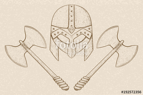 500x334 Viking Helmet With Axes. Hand Drawn Sketch On Beige Background