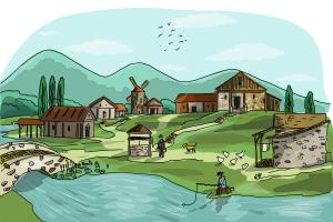 300x200 How To Draw A Village Scene