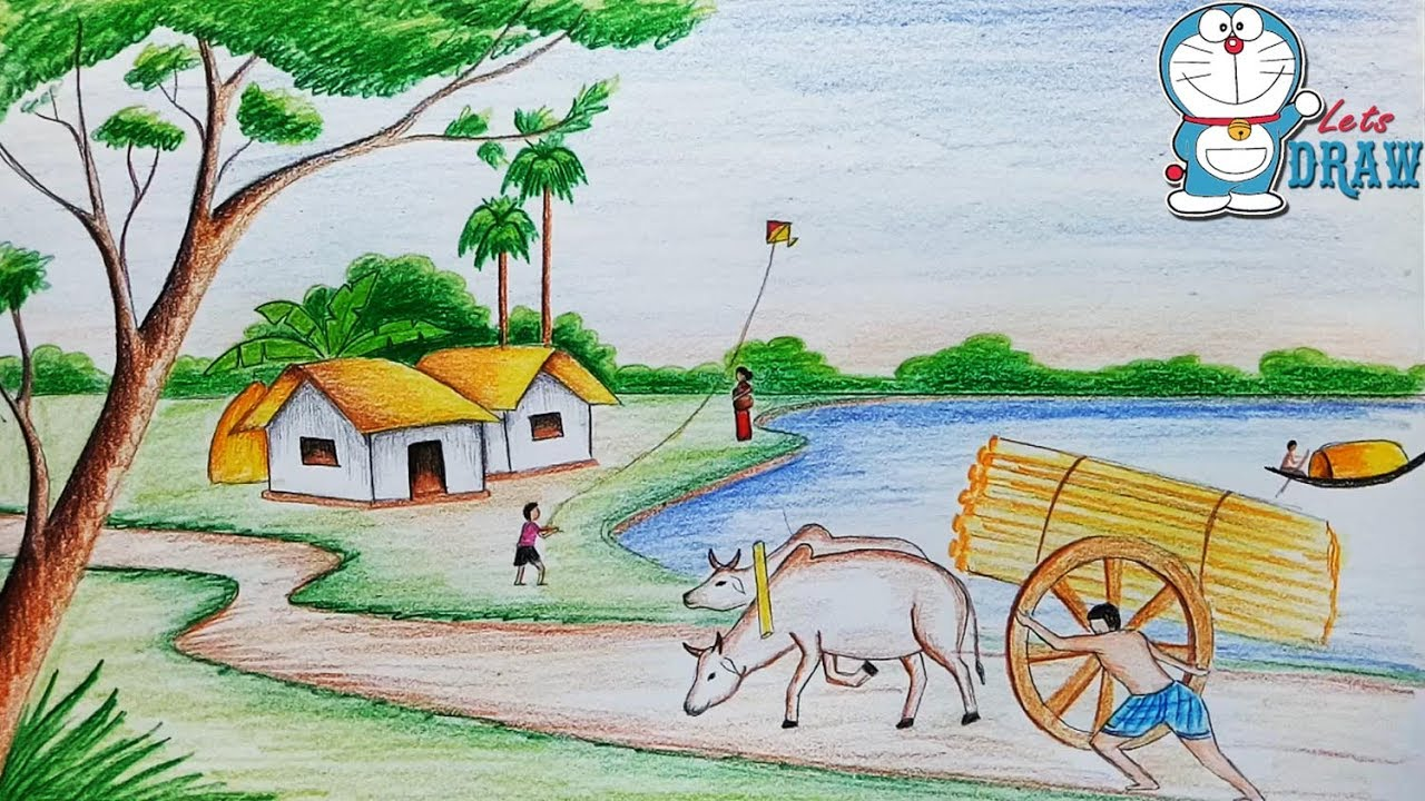 1280x720 How To Draw Village Scenery Landscape Step By Step