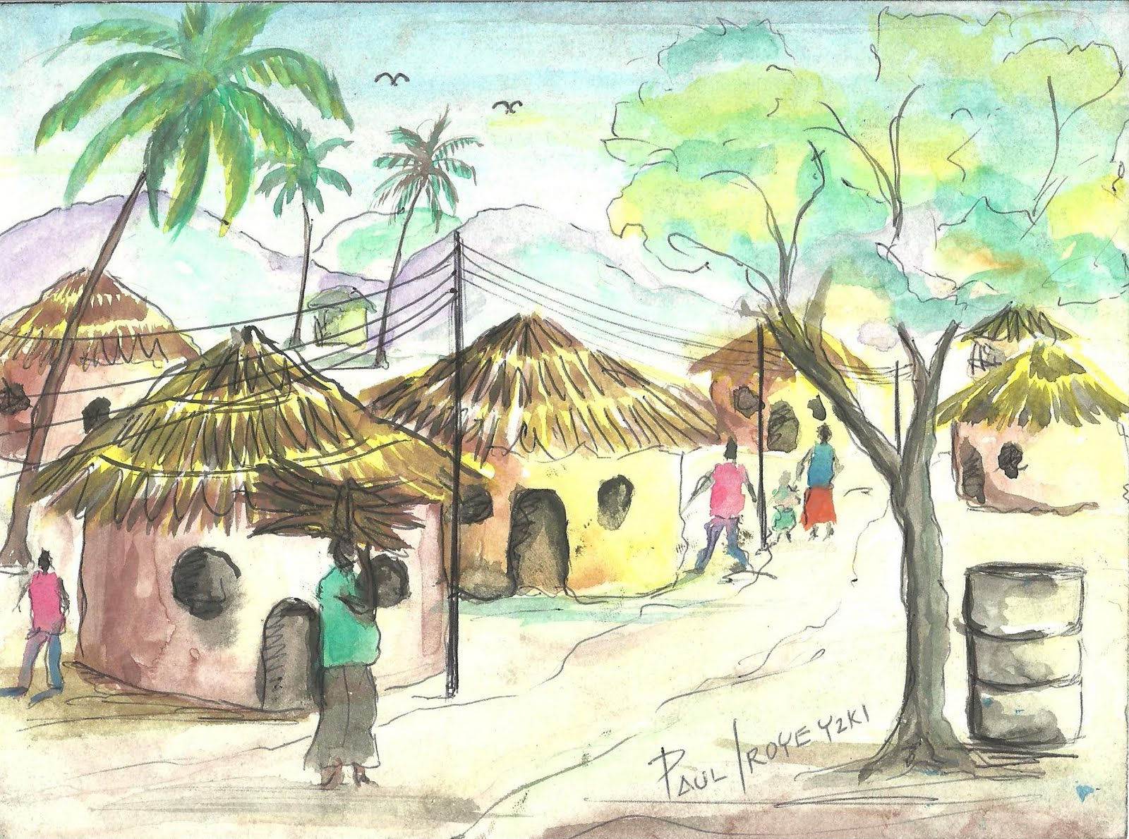 1600x1190 Indian Village Drawing Sketch For Kids Photos Indian Village