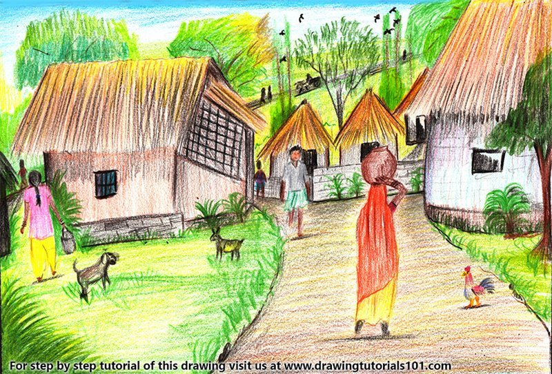 800x542 Learn How to Draw Village Scene (Villages) Step by Step Drawing