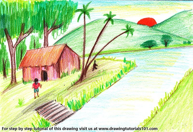 800x546 Learn How to Draw Village with Lake Sunset Scene (Villages) Step