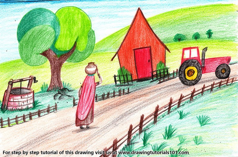 800x529 Learn How To Draw An Indian Village Life (Villages) Step By Step