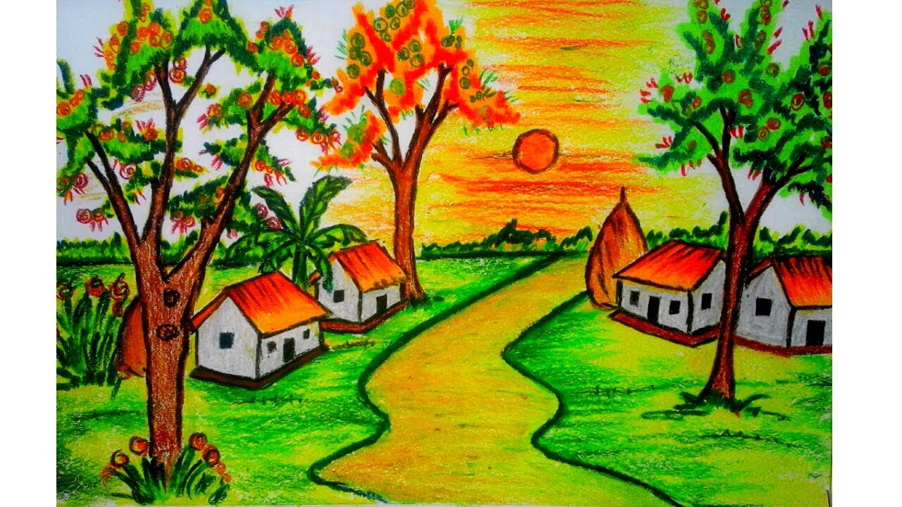 1280x720 Nature Drawings In Colour How To Draw A Scenery Drawing