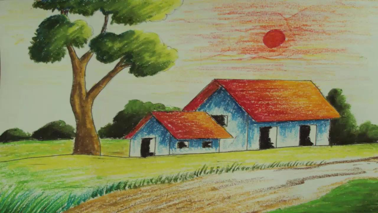 1280x720 Village Landscape Drawings Pastel Painting How To Draw A Simple