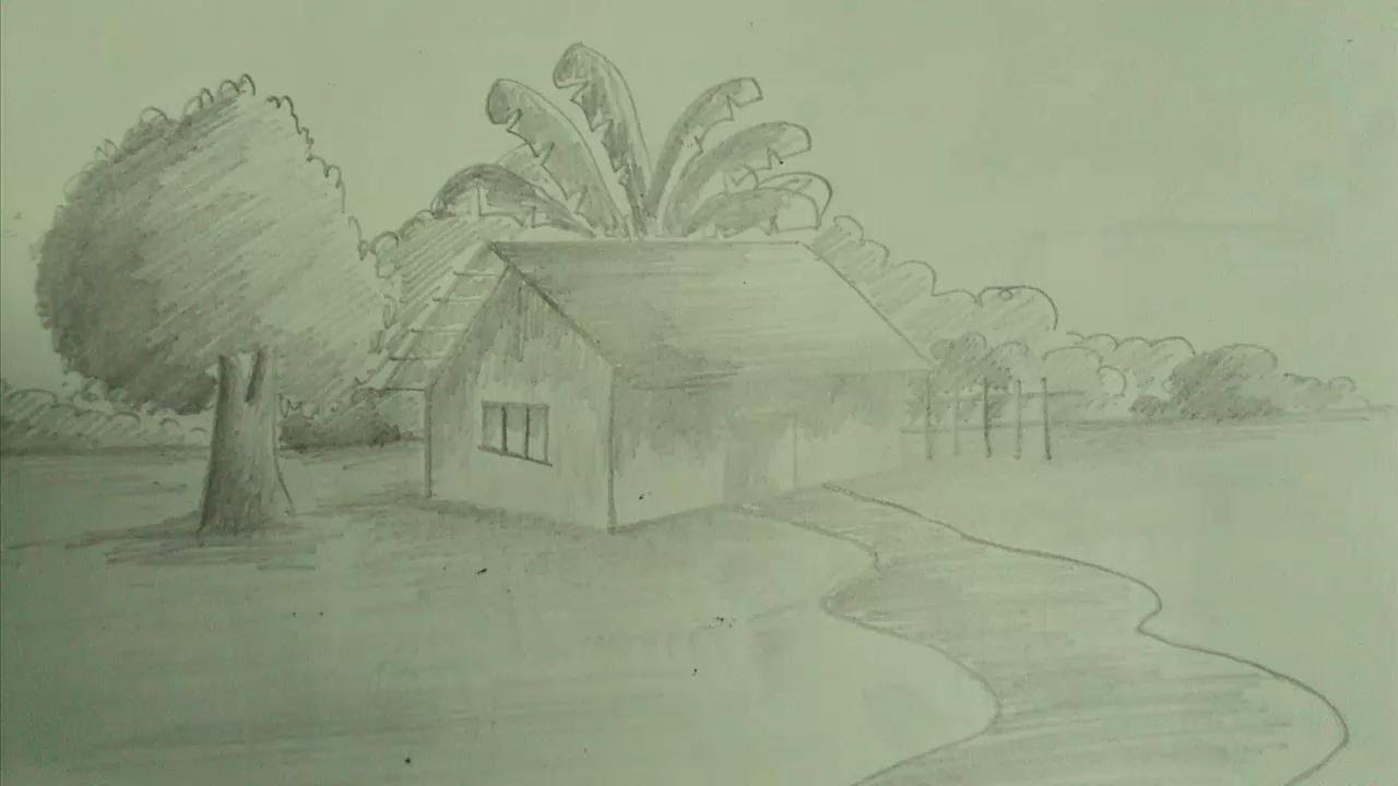 1280x720 Beautiful Village Sketch For Drawing How To Draw A Scenery