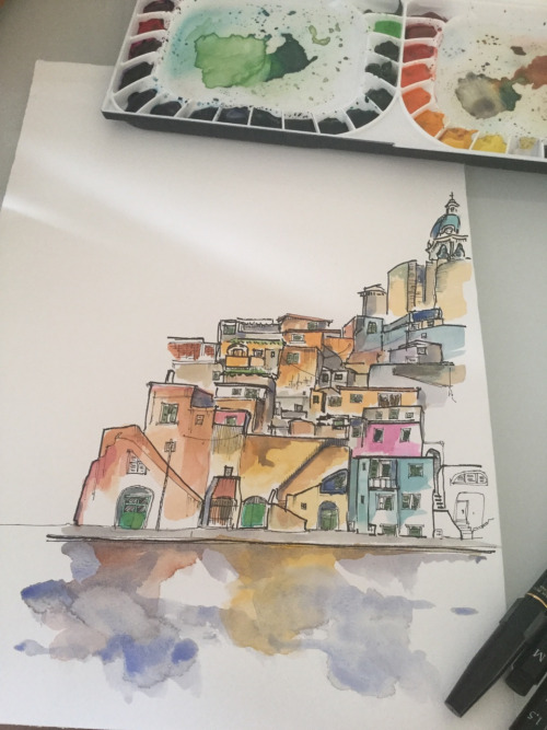 500x667 Italian Village By The Sea Drawingsketches